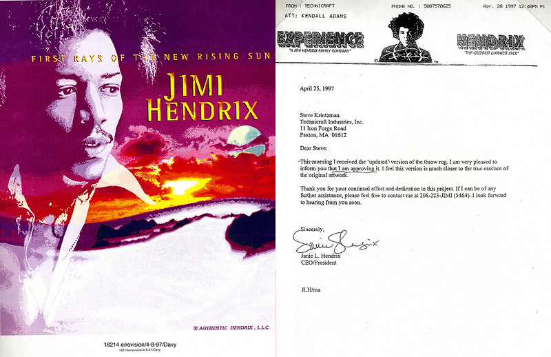 Jimmy Hendrix tapestry design I worked on in 1997 for Hendrix Limited. On the right is a letter to my boss from Janie Hendrix, CEO and sister of Hendrix LLC, approving the final design.