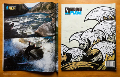 (photos left) Chris Peterson board surfing at the Golds Wave and the Bladder Wave in Idaho. Bomb Flow Magazine Issue #2