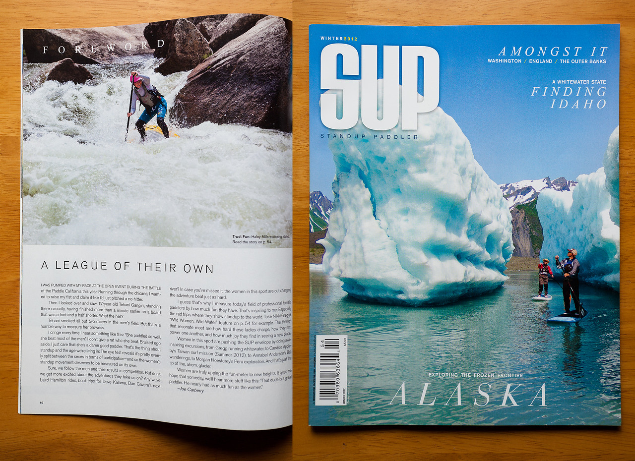 I had this photo of Haley Mills paddling Howards Plunge on the North Fork Payette, (photo far left) published in SUP Magazine winter 2012 issue