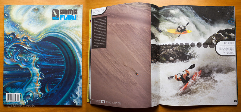 (photo left) Micah Kneidl kayaking down the Bruneau Sand Dunes in Idaho. (top right) Andy McMurray kayaking Big Brother Waterfall on the White Salmon River in Washington. (bottom right) James Byrd kayaking in Juicer Rapid on the North Fork Payette River in Idaho during record flows. Bomb Flow Magazine 1st Issue.