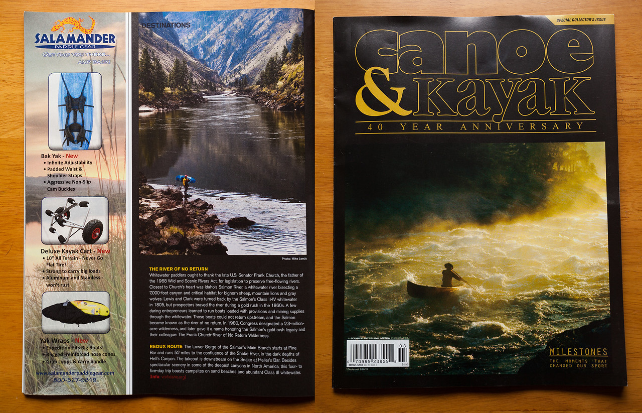 (photo left) Jesse Murphy standing along the Main Salmon River in Idaho. Canoe & Kayak March 2013, 40th Anniversary Issue.