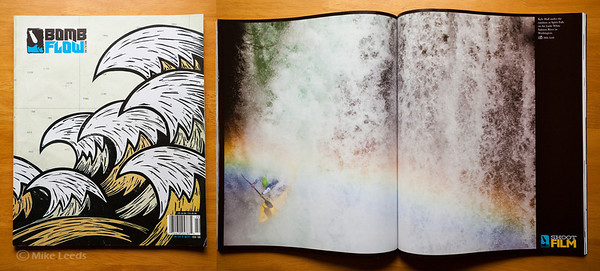(photo right)-Kyle Hull kayaking Spirit Falls on the Little White Salmon River in Washington. Bomb Flow Magazine Issue #2