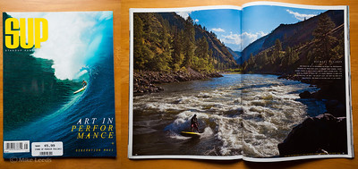 (photo right) Fall issue 2012 of SUP the Mag.  I had a two page spread of Mike Tavares surfing Golds Wave on a Stand Up Paddleboard.