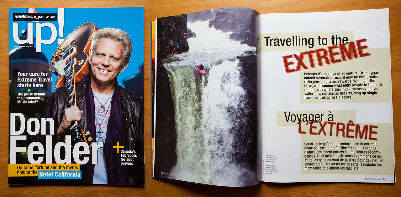 UP Westjet Magazine-Katrina Van Wijk kayking over Celestial Falls on the White River in Oregon.
