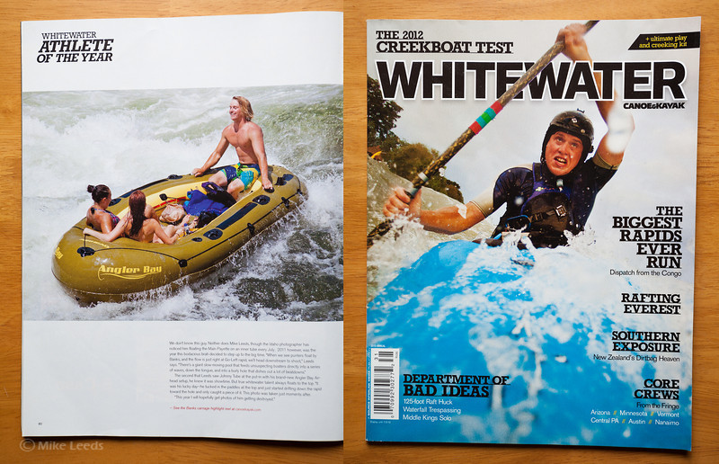 (photo left) Beater in Go Left Rapid on the Main Payette River in Idaho.Canoe & Kayak Magazine  2012 Whitewater Annual