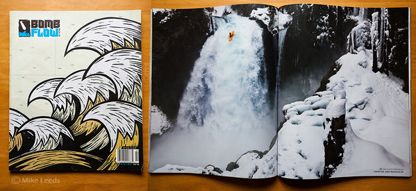 (photo right) Erik Boomer kayaking Sahalie Falls on the McKenzie River in Oregon. Bomb Flow Magazine Issue #2