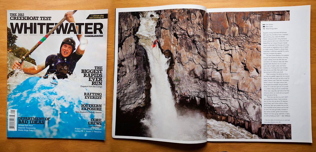 Dan Simenc kayaking the Devil's Washbowl on the Malad River in Idaho. Canoe & Kayak Magazine 2012 Whitewater Annual (photo right)