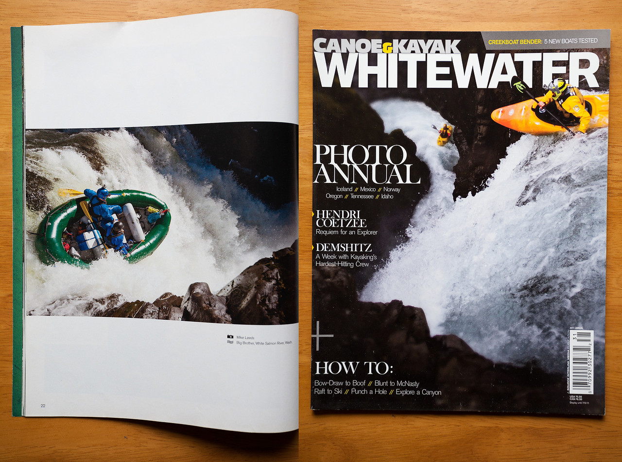 (photo left)Rafting Big Brother Waterfall on the White Salmon River in Washington. Canoe and Kayak Magazine Whitewater Annual 2011