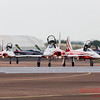 Close-up of Patrouille Suisse moving onto runway 27
