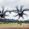 Prop blur of the A400M as it taxis off the runway at RIAT