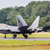 F-22A Raptor slows on the runway after landing