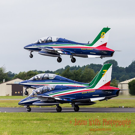 Section of the Frecce Tricolori display team take off