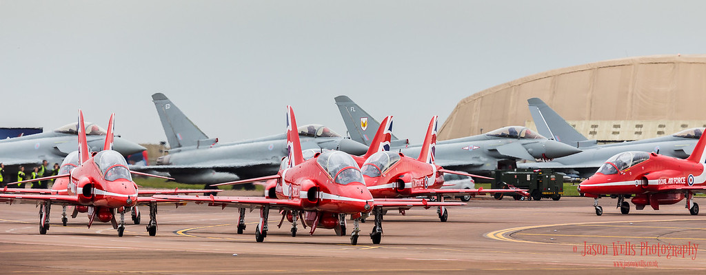 Red Arrows taxi in front of four Typhoons