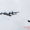 KC-130J Hercules dragging refueling baskets for a F-35B stealth