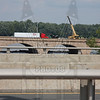 I84 W/B in E. Hartford/Hartford, Ct. The crane is pulling debris from the Connecticut River from hurricane Irene