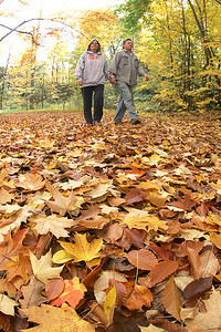 """25OCT09  Autumn Carpet of Leaves:    Jeanne and Randy Esser of LaPorte participate in The Friends of Cascade Park 27th annual Fall Color Walk at 2 p.m. Sunday.  """"Our backyard [in LaPorte] goe down to the river, but we were curious to see what Cascade looked like today,"""" said Randy.  Jeanne said, """"I wanted to come see where the bears were kept.""""   photo by Chuck Humel"""