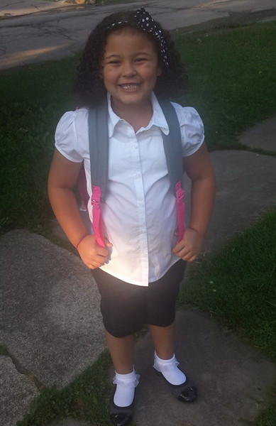 She's ready for the first day of first grade.