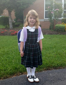 She's all set for her first day of kKindergarten at St Jude's in Elyria.