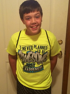 Logan Hrobat is ready for his first day of sixth grade at North Ridgeville Middle School.