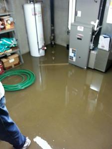 A basement on Vassar Avenue in Elyria is flooded despite a working sump pump.
