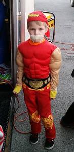 Brayden Bailey, 6, is dressed up as Hulk Hogen.