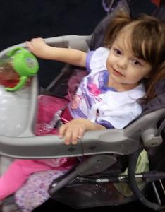 Olivia Panter, 1, is dressed up as Doc McStuffins.