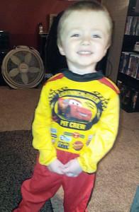 Gavin, 3, is part of Lightning McQueen's pit crew.