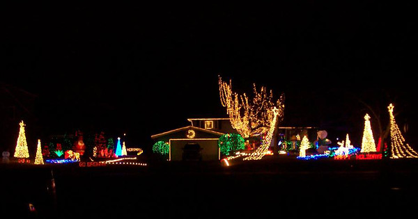 This house on East River Road in Elyria is all decorated for Christmas. READER PHOTO