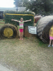 This tractor made of hay bales was popular with the children.