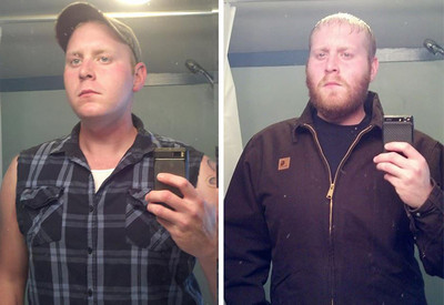 Donny Richmond, of LaGrange, before Movember, left, and after.