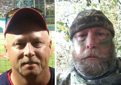 """Tony Reaser's summer look, left, and Reaser, aka """"Yukon Cornelius"""" after Movember."""