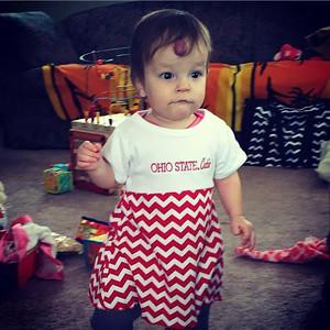 Even at 11 months, Jodie Cassavaugh Mottram's granddaughter knows which team to support.