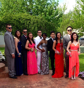A group of students poses before Elyria High's prom on May 10.