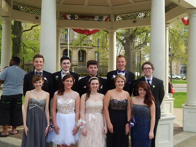 A group of Elyria High students pose at Ely Square before prom on May 10.