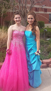 Brooke Nichole Kmitt and Rachael Holt pose before Black River's prom.