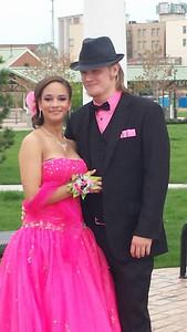 Tatyana Smith and Joshua Stanley pose before Lorain's prom.