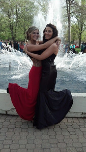 Dianna Skinner and Mia Hall pose at Ely Square before Elyria High's prom on May 10.