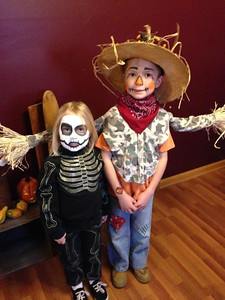 Emma and Aden from Sullivan are ready for Halloween.