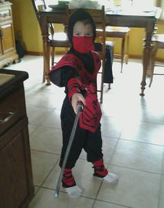 Dragan, 7, is dressed as a Ninja.
