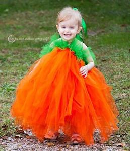 Evangeline, 2 1/2, makes a cute pumpkin princess.