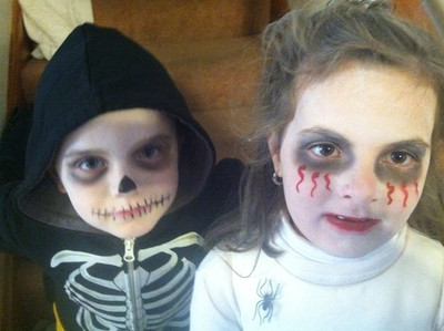 Lucy, 6, and Chase, 4, have ghoulish costumes.