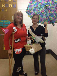 These language arts teachers just finished teaching figurative language and adjectives, so Rachel Marie went as walking idioms and Amy Smith went as a thesaurus.