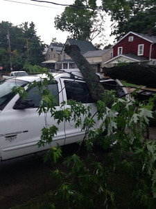 A car took out a tree parked on West Broad Street.