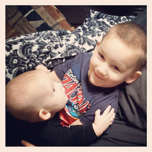 """I am thankful for my boys, Liam, 2, and Connor, 6 months. I wasn't supposed to have kids, but here they are! I am lucky to be their mother."" -Rachel Fisk"