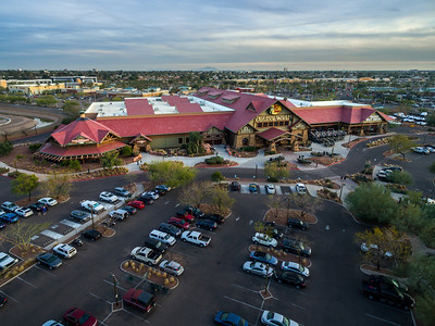 Drone based aerial view of Outdoor World, Tempe, AZ