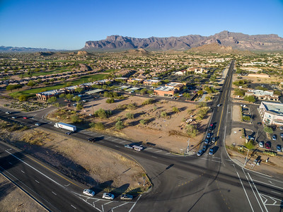 Drone aerial at Gold Canyon, AZ with Superstition Mountains backdrop