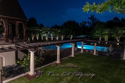 Manor House aand Pool at Night