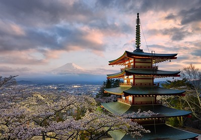 An old pagoda and a sea of cherry blossoms frame the beautiful and timeless shape of Mt. Fuji in Japan.