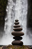 Balanced Stone Stack with Abiqua Falls