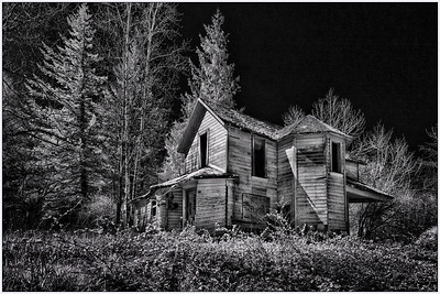 Old Oregon Home, Oregon, Black and white, fine art, infrared, artistic